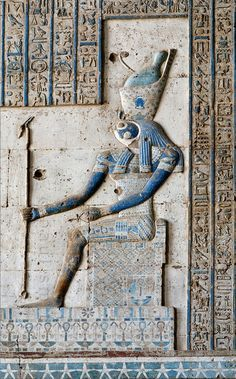 A relief in the Hathor Temple at Dendera shows Horus