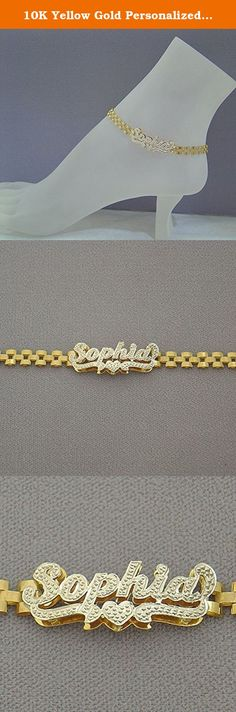 """10K Yellow Gold Personalized 6mm Watch Band Style Ankle Bracelet Diamond Accent Name 3D Double Plates. *10k Yellow Gold Personalized Anklet Diamond Accent 3D Double Plates Name with watchband style ankle bracelet. *Up to 9 Letters - Only first letter capitalized. *Average Name Dimension: 1 1/4 Inch (33 mm) X 1/2 Inch (12 mm) Approx. *Name Thickness Top: 0.7 mm / 22 Gauge / 0.028"""" Approx. *Name Thickness Bottom: 0.40 mm / 26 Gauges / 0.018"""" Approx. *This double plated name cut out by…"""