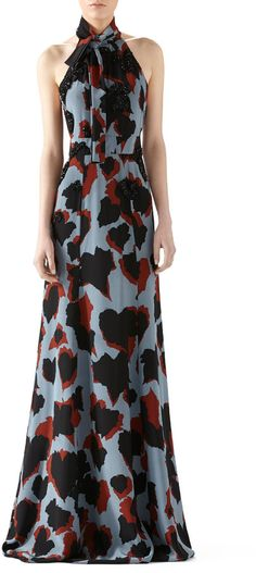 Gucci Leaves Print Embroidered Silk Gown