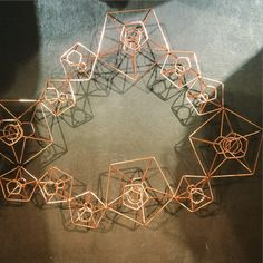Geometric Copper Wire Trend - cool candle holder table centrepiece