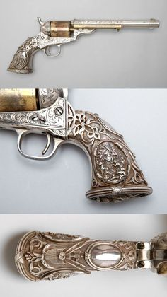 """Colt , Model 1871–72 Open Top Frontier Revolver.   Circa 1875; serial number 4974 Manufacturer: Colt's Patent Fire Arms Manufacturing Company Engraver: Louis D. Nimschke """"THIS GUN HAS A TIFFANY GRIP"""""""