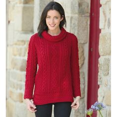 Pull tunique rouge Carraig Donn, col boule, 100% laine mérinos.