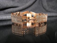 Copper Wire Woven Bracelet with Copper Bead by RoSanCustomJewelry
