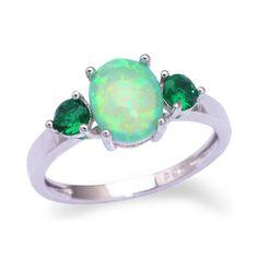 Green Fire Opal Emerald Silver Ring