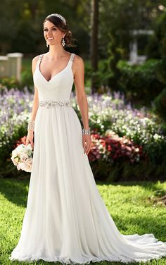 Low's AR Essence Style 6018 Designer Bridal Gowns by Stella York - Chiffon Beach Wedding Dress Wedding Dresses With Straps, Wedding Dress Chiffon, 2015 Wedding Dresses, Wedding Attire, Bridal Dresses, Wedding Gowns, Bridesmaid Dresses, Wedding Dress Sheath, Outdoor Wedding Dress