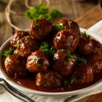 Le Tour 2017 Recipes - Liege Meatballs - The French Cooking Academy Cranberry Meatballs, Grape Jelly Meatballs, Bbq Meatballs, Crock Pot Meatballs, Cocktail Meatballs, Crock Pot Recipes, Pork Rind Recipes, Cooker Recipes, Slow Cooking