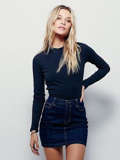 Spring style | Navy long sleeves shirt with denim mini skirt