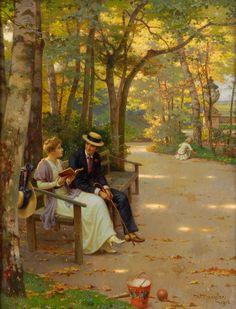 """""""A Chat in the Park (Ein Plausch im Park)"""" by Wilhelm Menzler"""