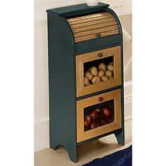 Store it in Style Vegetable Bin.I cant even begin to describe how badly I need this. Vegetable Storage Bin, Potato Storage, Vegetable Bin, Wooden Crates, Wooden Diy, Potato Bin, Kitchen Queen, Accent Furniture, Furniture Making