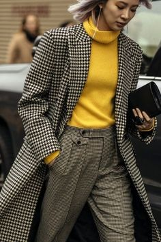 Outfit Recipe | Herring bone trench with yellow turtleneck and tweed pants