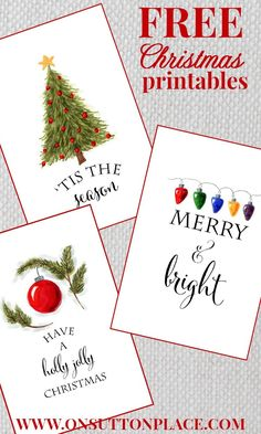 Free Christmas printables to use as DIY Wall Art, gift tags, cards or screensavers. onsuttonplace.com