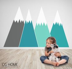 headboard MOUNTAIN view Christmas Snow mountain for kids big wall washable decal CGhome by CGhome on Etsy