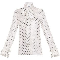 Loewe Dot Lavalliere White Blouse (€415) ❤ liked on Polyvore featuring tops, blouses, white, white top, polka dot top, white silk blouse, dot blouse and loewe