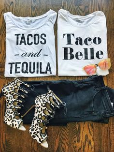 graphic tees, graphic tshirts, graphic shirts, how to style your graphic tee, how to style your graphic shirt, cute tees, woman's graphic tees, champagne tees, bachelorette tees, outfit of the day, style of the day, what to wear with your jeans, fashion, fashion bloggers, outfit ideas, chic, chic outfit, cinco de mayo, cinco de mayo tees, what to wear on cinco de mayo, cinco de mayo outfits, beauty and the beast, taco bell, tacos and tequila, leopard print shoes, how to style your black…
