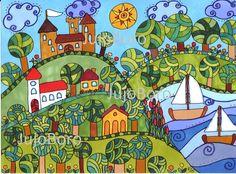 Tóparti táj Building Art, Applique Quilts, Painting For Kids, Art Education, Creative Art, Painted Rocks, New Art, Folk Art, Coloring Pages