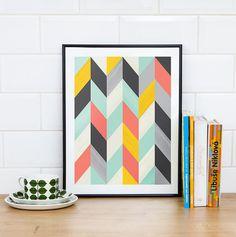 Abstract art Geometric Art Harlequin Retro poster Mid by handz