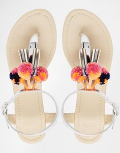 Image 3 of ASOS FRUIT LOOP Pom Sandals