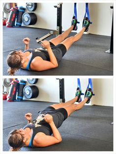 suspension trainer straight leg glute bridge