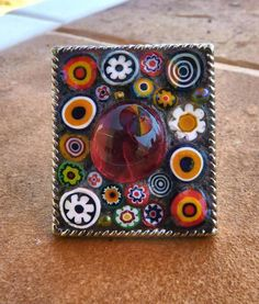 Mosaic Abstract Ring with Italian Glass Lampwork Millefiori