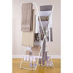 Wäscheständer X-dryer® - Platzsparend hoch – statt breit und sperrig. Luftige 11,5 m Trockenplatz auf kleinstem Raum.