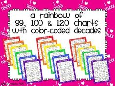 ***+Flash+Freebie+***This+download+contains+3+sets+of+color-coded+numeral/anchor+charts+(99,+100+and+120).+Each+set+comes+in+7+color+options+(red,+orange,+yellow,+green,+blue,+purple+and+magenta).+Recommendation:+print+on+heavy+bond+cardstock+and+laminate+to+increase+durability.