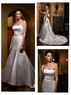 Simple but Elegant Satin Strapless Mermaid Wedding Dress with a Full Bow and Sash Trailing Down the Back