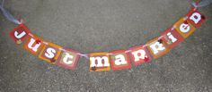 Just Married Banner in Fall Colors, Used for Wedding Photos, made by Banana Lala Party Designs & More