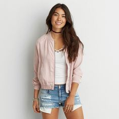 AE Tencel Bomber Jacket ($50) ❤ liked on Polyvore featuring outerwear, jackets, pink, pink jacket, pink bomber jacket, american eagle outfitters jacket, american eagle outfitters and flight jacket