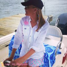 Sweet Tea Monograms PFG shirt is perfect for a day out on the boat!