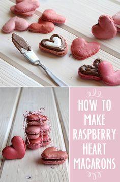 food recipes, heart macaron, raspberri smore, sweet, valentine day, smore fill, fill heart, raspberries, macaroons