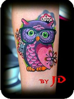 Colorful Owl Tattoos | Forbidden Images Tattoo Art Studio : Tattoos : JD McGowan : Nerdy Owl