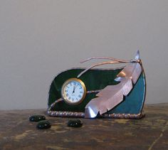 Unique Stained Glass Desk Clock, Forest Green w/ Copper Feather, Gift (Love the copper feather accent) Glass Desk, Stained Glass Crafts, Desk Clock, Green And Purple, Rainbow Colors, Clocks, Metal Working, Feathers, Glass Beads