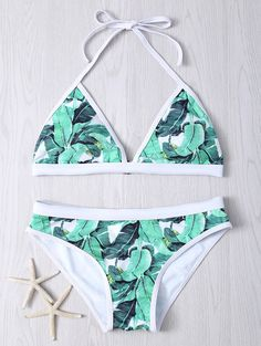 Tropical Print Halter Bikini Set in Green | Sammydress.com