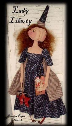 Primitive Folk Art Lady Liberty Doll - Americana Patriotic EPattern. $5.00, via Etsy.