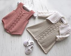 3 in 1 knitting pattern: baby romper + A line dress with delicate leaf pattern running down the front + matching bolero 3 in 1 knitting pattern: baby romper + A line dress with delicate leaf pattern running down the front + matching bolero Knitting For Kids, Free Knitting, Knitting Projects, Knitting Needles, Free Baby Knitting Patterns, Baby Romper Pattern Free, Knitting Baby Girl, Vintage Knitting, Knitting Ideas