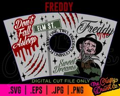Free Horror Movies, Halloween Outside, Work Pictures, Nightmare On Elm Street, Freddy Krueger, Cup Design, New Crafts, Horror Art, Print And Cut