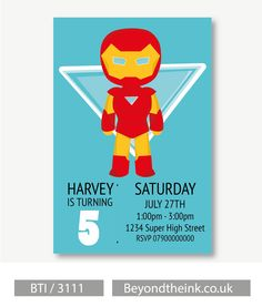 Personalised Iron Man Invitations.  Printed on Professional 300 GSM smooth card with free envelopes & delivery as standard. www.beyondtheink.co.uk