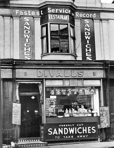 This is the frontage of Divall's café in the from the personal collection of JJ Waller. Brighton Sussex, Brighton England, Brighton And Hove, Retro Pictures, Old Pictures, Cafe Exterior, Vintage Cafe, Old Street, My Town