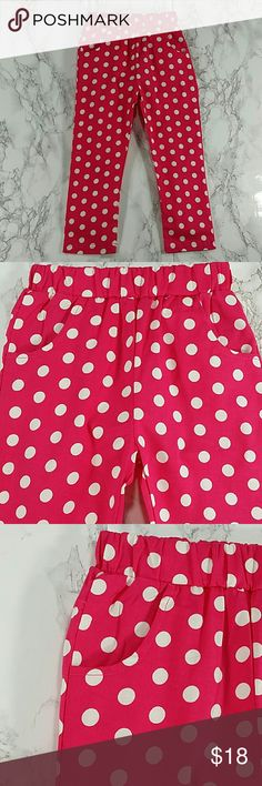 Fuchsia dots pants. Kids Beautiful fuchsia color pants with white polka dots.  Have pockets Pull up style.  This item is brand new and never used. #2429 Bottoms Casual