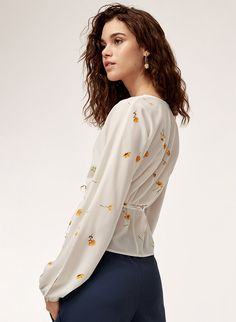 This blouse is made with a matte crepe fabric that hangs beautifully. The wrap silhouette and adjustable tie at the waist make for a flattering fit. Crepe Fabric, Bespoke, Detail, Blouse, Beauty, Ideas, Tops, Women, Fashion