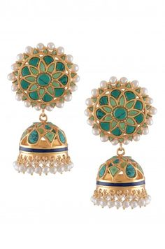 Silver Gold Plated Turquoise Round Floral Jhumki | Amrapali