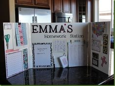 personal homework station made of foam core or trifold poster board.