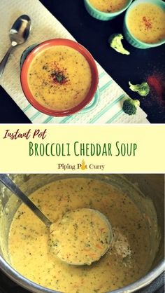 A comforting Creamy Broccoli Cheddar soup loaded with veggies and cheddar cheese made in the instant pot. It just takes 30 mins to make this cheesy goodness | #broccolicheddar #instantpot #pressurecooker #broccoli #cheddar #soup #panera #lowcarb #glutenfree #vegetarian #panera #copycat #creamy #homemade | pipingpotcurry.com Recipes Dinner, Soup Recipes, Gf Recipes, Healthy Recipes, Diabetic Recipes, Copycat Recipes, Healthy Meals, Bread Recipes, Broccoli And Cheese