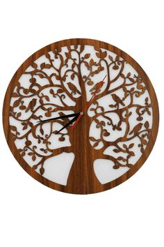 """Lebensbaum Uhr aus Holz  Graviert Laser Cut """"Symbol der Kosmischen Ordnung"""" Wanddeko Holzdeko Wandbild Dekoration Deko Geschenk Geburtstag Hochzeit Muttertag Weihnachten Baum des Lebens"""