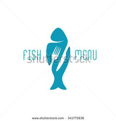 Silhouette of a fish with negative space style fork and knife cutlery. Knife Logo, Space Images, Menu Restaurant, Negative Space, Royalty Free Stock Photos, Fish Food, Silhouette, Letters, Cutlery
