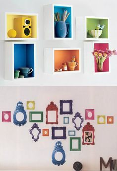 Rainbow Wall Shelves and Rainbow Picture Sticker Frames Rainbow Theme, Rainbow Wall, Rainbow Room Kids, Girls Bedroom, Bedroom Decor, Wall Decor, Bedroom Ideas, Diy Wall, Kid Bedrooms