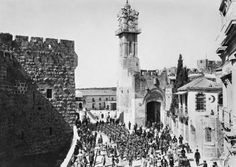Ottoman soldiers pass through the Jaffa Gate, Jerusalem, 1915, Ottoman Imperial Archives, The clock tower was built in 1908 in honor of the Ottoman Sultan Abdul Hamid II, after the British captured the city in 1917 the ornate tower was torn down.