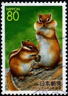 chipmunk stamp from Japan