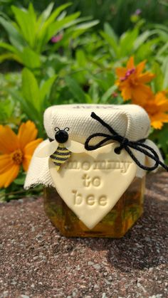 Mommy to Bee Mini Honey Jars - Party Favors - Custom Made by LuckyTrinket on Etsy https://www.etsy.com/listing/234982836/mommy-to-bee-mini-honey-jars-party