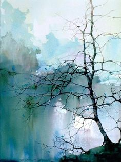 100 Easy Watercolor Painting Ideas for Beginners Tree branches in misty blue sky and clouds. Easy Watercolor Painting Ideas for Beginners Watercolor Paintings For Beginners, Watercolor Landscape Paintings, Watercolor Trees, Beginner Painting, Watercolor Techniques, Watercolor And Ink, Landscape Art, Simple Watercolor, Chinese Landscape